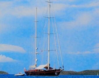 Sail Boat, Caribbean, digital photo, minimalist, wall art, blue, home decor, office art, beach art, resort art, office art, guest room art,