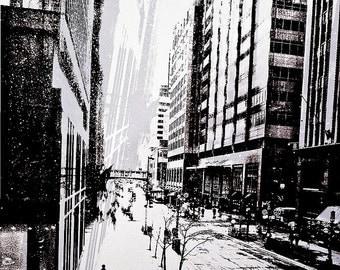 Streets of Minneapolis, digital art photo, sketch effect, black and white, wall art, home decor, signed photo, Minnesota art, city streets
