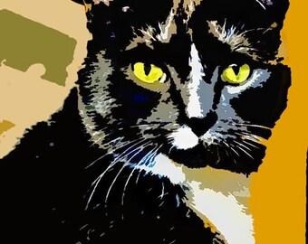 Cat Pop Art photo, home decor, wall art, cat  art, fun cat, kids room, colorful, pet lovers art