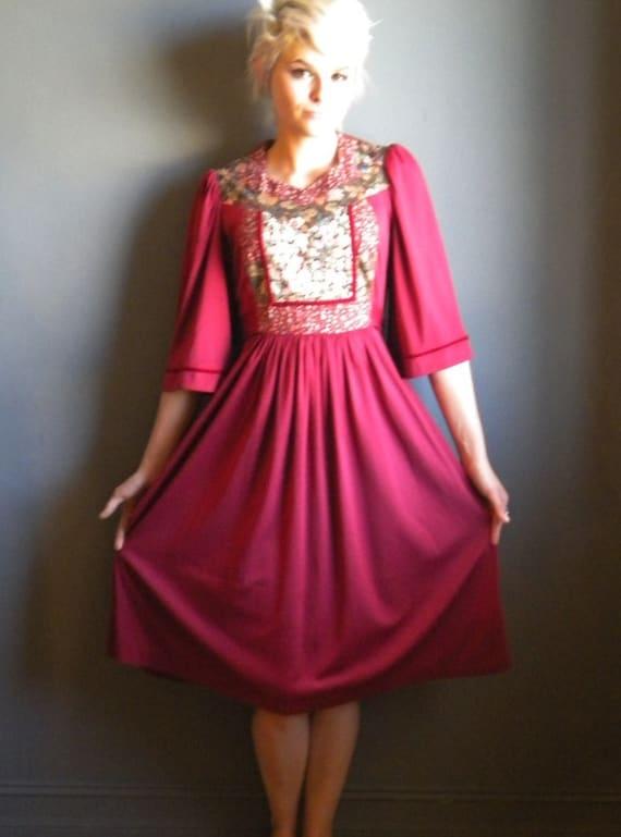 70's wine /hippie celtic /patchwork  angel sleeve /gathered dress