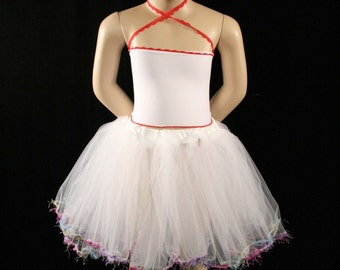 White Fiesta trimmed dance tutu petticoat skirt Child tea party bridal flower girl rainbow -Grow with Me - Sistersenchanted