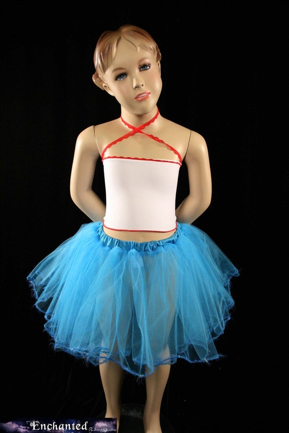 Turquoise trimmed dance tutu skirt Child girls Grow with Me princess tea party mermaid ballerina --Sistersenchanted