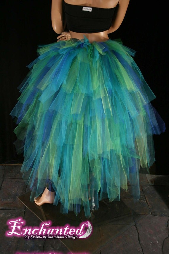 Massive Mermaid tulle bustle floor length burlesque tie on costume blues greens fantasy fairy show girl --One Size XS-XL--Enchanted