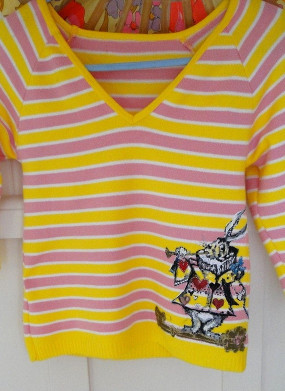 SALE- Hand-Painted - Down the Rabbit Hole- on Vintage striped bright shirt