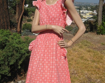 What's Cookin' Vintage 30s 40s Pink Floral Art Deco Ruffled Wrap Dress Apron