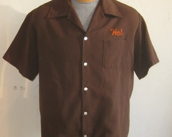 Vintage 50s Bowling Shirt Brown Chain Stitched Tierrasanta San Diego Team Captain Shirt Hal