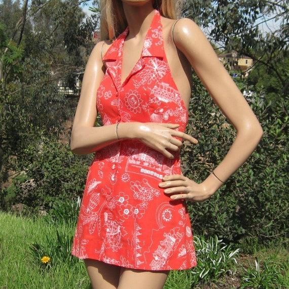 Vintage 60s Mod Hawaiian Novelty Print Andrade Halter Mini Summer Dress Beach Cover Up Hawaii