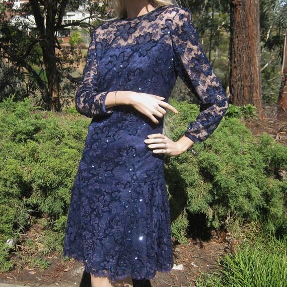 Vintage 80s Designer Nolan Miller Couture Saks Fifth Avenue Sapphire Blue Silk Lace Overlay Cocktail Party Dress