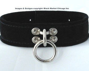 BDSM Slave Collar Single Ring  Lockable  BLACK Genuine Suede with Leather Straps
