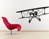 Huge Bi Plane Vinyl Wall Decal