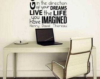 Go Confidently in the Direction of Your Dreams Thoreau Quote Wall Decal