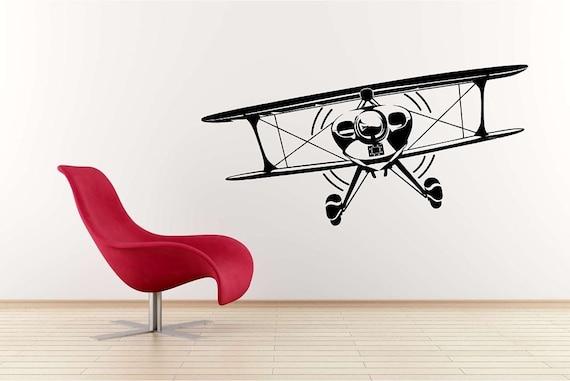 Huge Bi Plane Vinyl Wall Decal