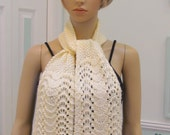 SCARF, Cream colored, called Countess Bathory of Hungary, hand knitted in a lacey open pattern