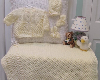 IVORY, Baby layette, 5 pieces,  hand knitted, hat, sweater, booties and blanket,open weave stitch
