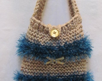 KNIT SHOULDER , Handbag/ purse, hand knitted in beige heather wool and aquamarine fun fur, gold ribbon accents