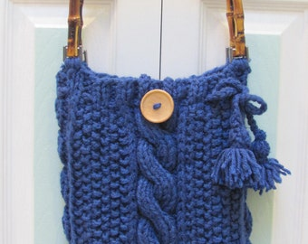 KNITTEDHANDBAG/PURSE:Colonial Blue Knit,  hand knitted, In a cable and seed stitch pattern, cotton lined