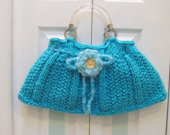 KNIT DESIGNER HANDBAG/ Purse, Large, Turquoise,  hand knitted, fully lined with a pocket, draw string ties, silver lucite handles