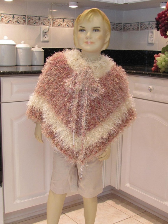 CHILDREN'S, KNIT, PONCHO, Young girls, size 7 to 8, in a soft multi Rose  Beige, two tone yarn of  fancy fun fur and acrylic yarn