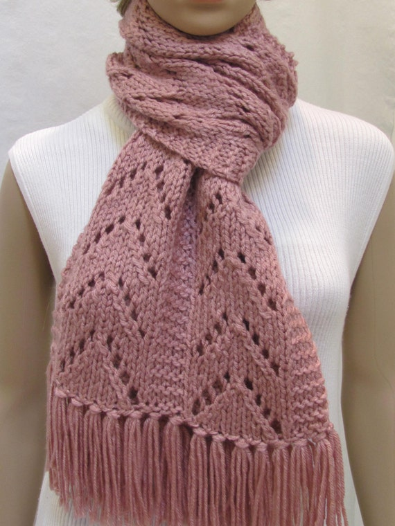 Dusty pink scarf, with fringe, hand knitted in a chevron stitch,very long