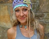 BOHO FLOWER purple BEANIE hat with interwoven headband crochet cotton hat hippie gypsy funky