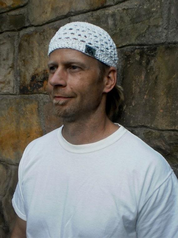 MENS white KUNDALINI SADHANA beanie crochet cotton beanie hat white Kufi hat skullcap White hat for men