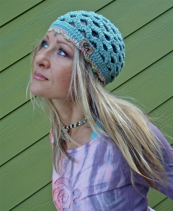 FLORIDA turquoise BEANIE for fairies pixies HIPPIE hat Bohemian charming elegant hand crochet Cotton Beanie hat womens beanie