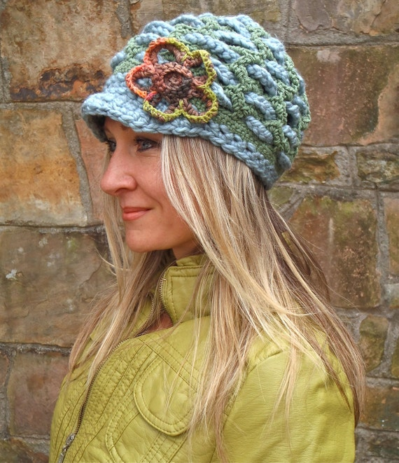 green SLOUCHY beanie crochet Slouch hat FLOWER cap NEWSBOY hat Bohemian hat interwoven pattern Hippie Gypsy Funky hat green steel blue