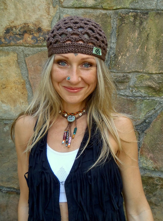 BOHO BROWN cotton BEANIE hat crochet hat hippie beanie chic earth color made to order