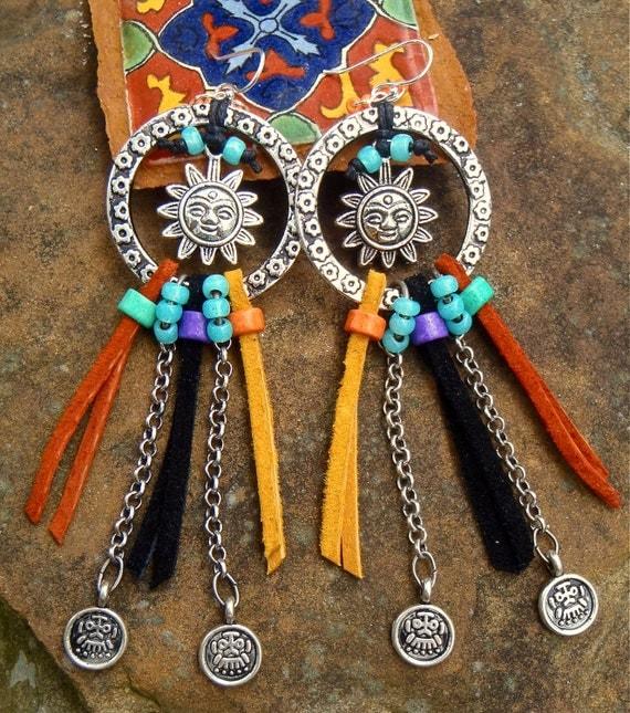 LEATHER HOOP earrings tribal SUN earrings silver chain earrings long earrings flowers boho hippie gypsy earrings
