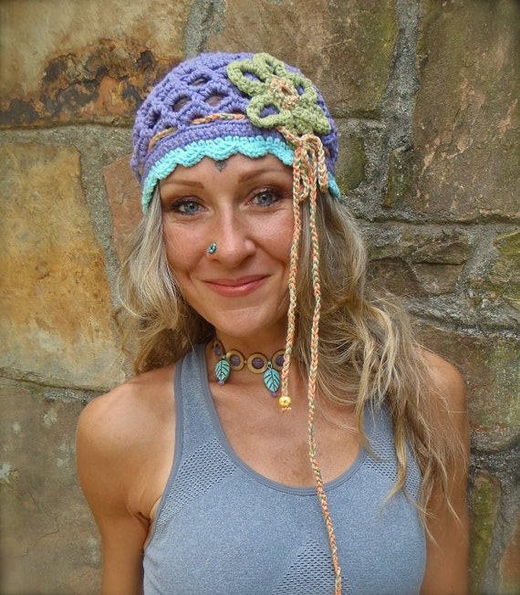 BOHO FLOWER purple BEANIE hat with interwoven headband crochet cotton hat hippie gypsy funky