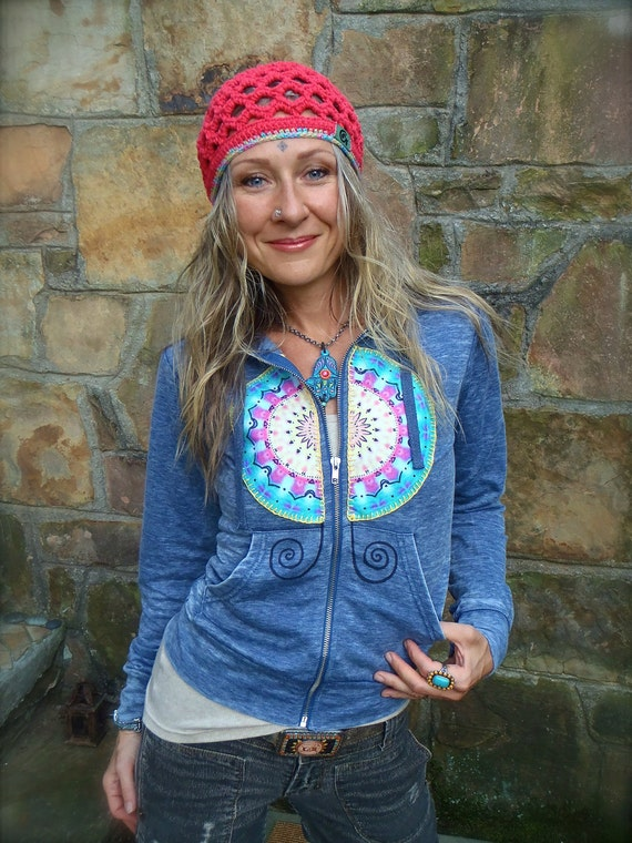 SALE angel WINGS om Yoga Mandala grey HOODIE jacket acid wash Girls hoodies felt mandala embroidery hand painted gypsy bohemian clothes