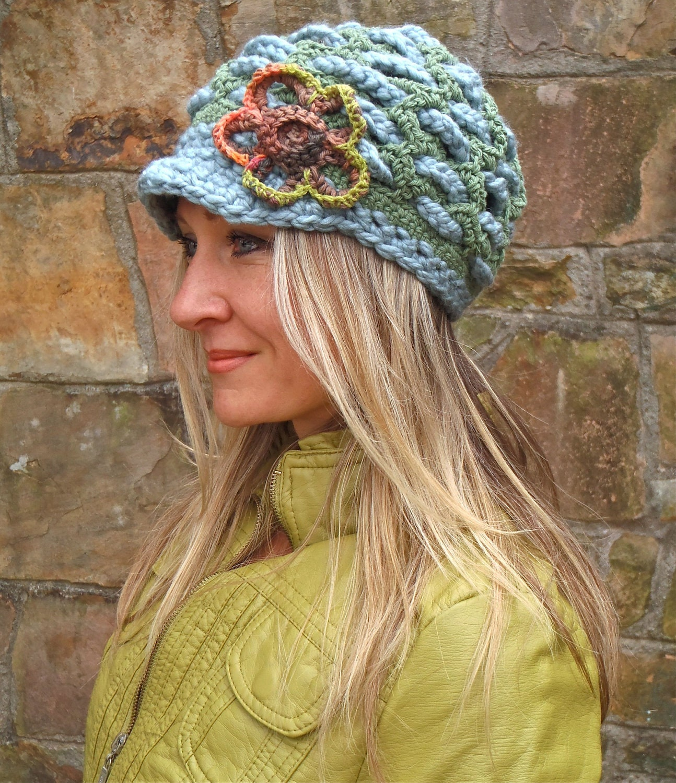 Crochet Slouch Hat: Green SLOUCHY Beanie Crochet Slouch Hat FLOWER Cap By GPyoga