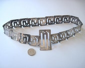 Victorian Edwardian Decorative Greek Key Pattern Silver Belt