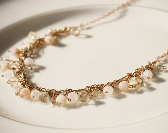 Peach necklace - sunstone & golden crystals (Sale)