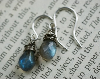 Earrings - grungy opal like labradorite gems on tarnished sterling silver.