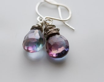 Violet earrings - iridescent blue, fuchsia and indigo crystals