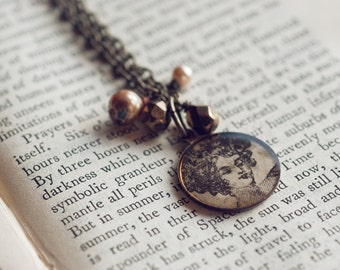 Victorian lady charm necklace.