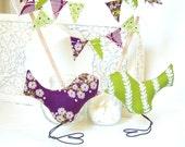 Love Bird Wedding Cake Topper, Wedding Gift, Bridal Shower Decor, Birthday Cake Topper, Anniversary Gift, Purple, Eggplant, Aubergine, Green