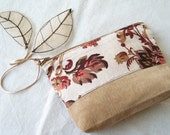 Fall Autumn Leaves Pouch Clutch Purse  in Floral Linen and Tan Cotton - Autumn Garden - by OnePerfectDay