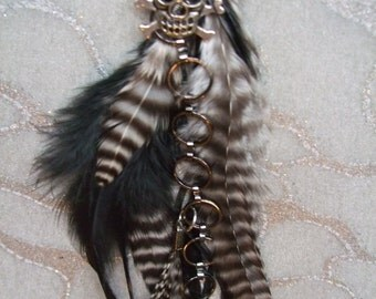 METZ Feather Earring - Single - Extra Long, Striped, Black & White feathers, w Pirate Skull and Crossbones Charm w Black chain