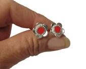 Red flower studs, sterling silver post  earrings , red resin  circle, red flower earrings
