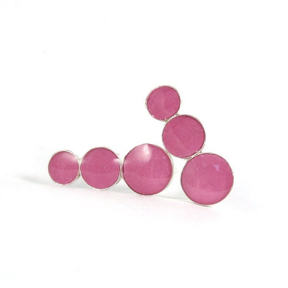 Pink studs earrings , Sterling silver post Earrings 3  pink / fuchsia Circles , hot pink earring , under 35