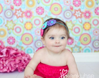 Sitting, Waiting Wishing- triple rosette headband in bright pink, purple & teal