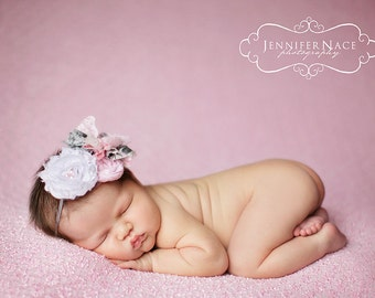 Roses in the Shade- pink, white and grey ruffle and rosette headband