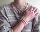 Vintage 1960s Pink Necklace and Bracelet Set