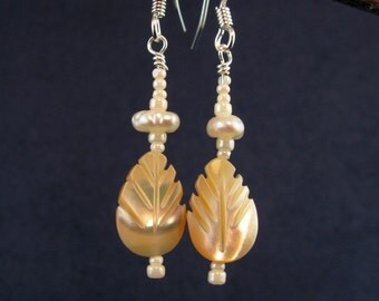 Carved Mother of Pearl Leaf  Earrings E157