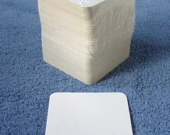 125 MW Blank White Chipboard 4-inch Square Coasters