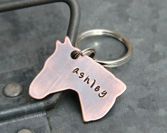 Custom Keychain / Halter ID Tag / Stable ID Tag - Perfect for Riders & Horse Lovers - Personalized in Copper