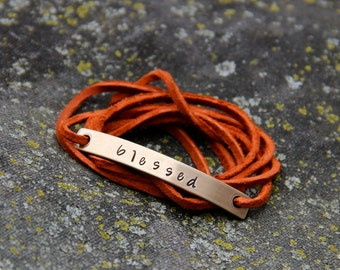 Custom Wrap Bracelet in Hand Stamped Bronze and Suede - Choose your Color, Font & Text