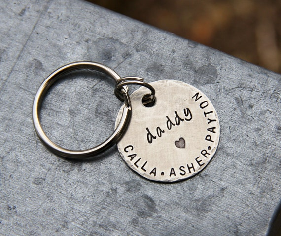 1.25'' Custom Hand Stamped Keychain for Mom or Dad, in Nickel Silver - Great for New Parents, Fathers / Mothers Day